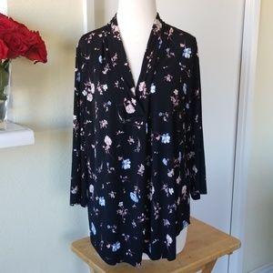Charter Club black floral blouse